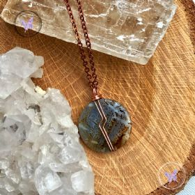 Leopard Agate Coin Pendant Necklace 05